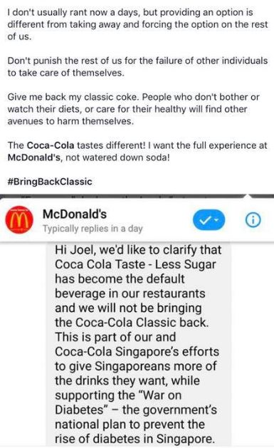 Mar 19: Demanding McDonalds to bring back Classic Coke