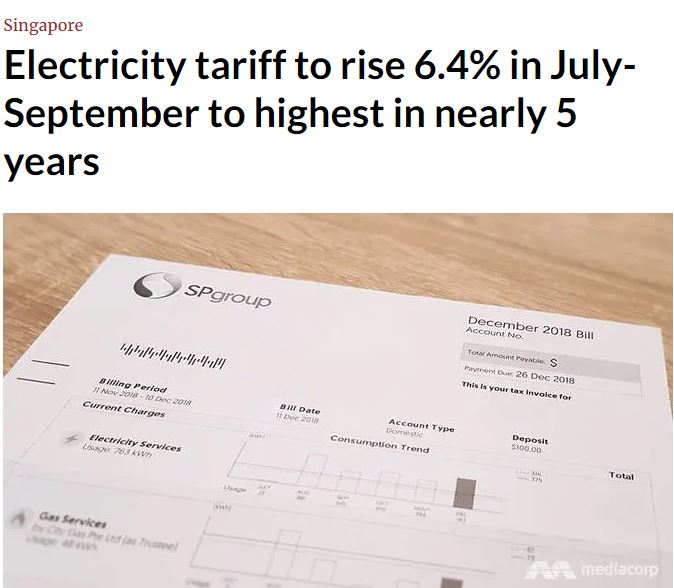 Jul 19: Singapore Electricity Tariff Increase Again